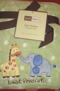 Pretty Just Born Sweet Safari Baby Blanket