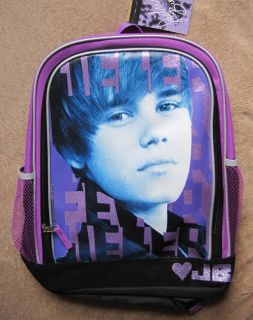 Justin Bieber Face Purple Backpack School Book Bag