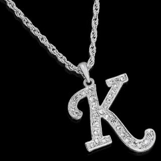 ALPHABET INITIAL LETTER K SILVER PLATED w CRYSTAL PENDANT CHARM