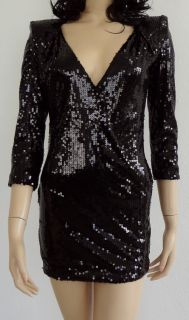 Kardashians by BEBE Sequin Paillette Mini Dress with Peaked Shoulders