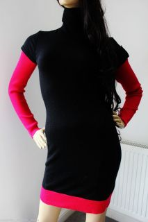 Karen Millen Black Roll Neck Colour Block Tunic Merino Knit Dress 8 10