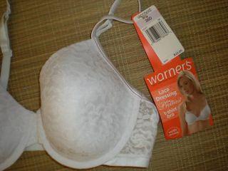 Warners 36D White T Shirt Underwire Bra $32 1377 TW