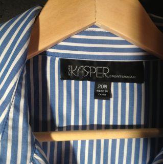 Kasper Woman Plus Size 20W Long Sleeve Shirt Mint