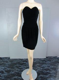 Vtg 80s Black Velvet Sweetheart Mini Corset Dress Size XS Strapless
