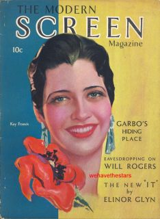 MODERN SCREEN 11 30 Kay Francis Greta Garbo Lon Chaney Clara Bow