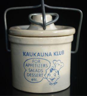 Small Vintage 1950s Kaukauna Klub WISCONSON Lidded Bail Stoneware