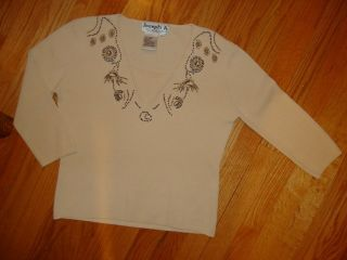 Joseph A Off White Beige Brown Beaded Sweater Shirt Top M 8 10
