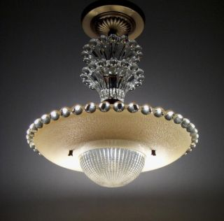 VINTAGE ART DECO BEADED CANDLEWICK STYLE GLASS CHANDELIER CEILING