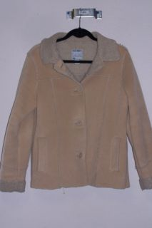 Womens Old Navy LG Tan Button Up Jacket Coat Fleece Lining L Large
