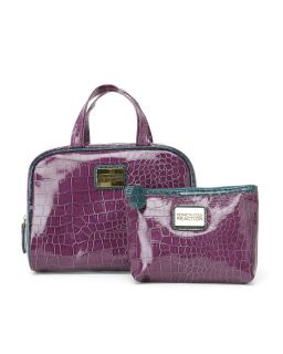 Kenneth Cole Reaction Purple Croco Print 2 Piece Cosmetic Case Set