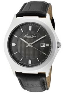 Kenneth Cole Watch KC1478GUN Mens Charcoal Dial Black Leather