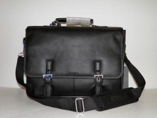 New w Tag Kenneth Cole Reaction Mens Black Leather Briefcase 15 Laptop