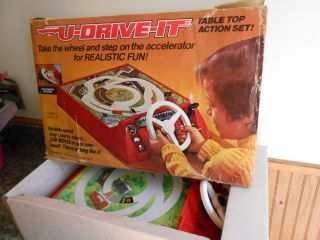 Vintage 1974 Schaper Battery Operated U Drive It Table Top Action Set