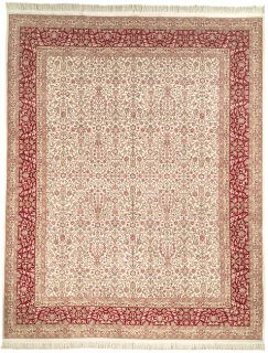 Hand Knotted Traditional Kerman Ivory Wool Carpet Rug 10 x 14