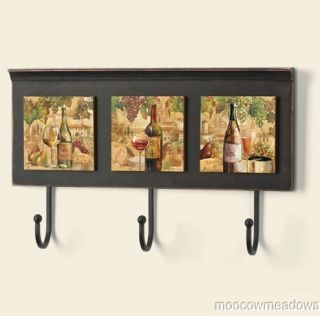 Tuscany Grapes and Wine Wall Hooks Key Holder Coat Rack