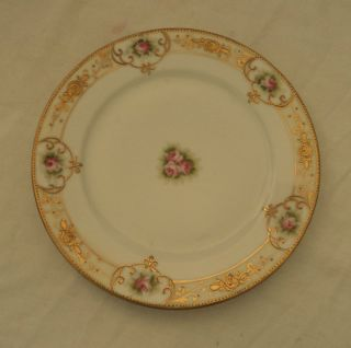 nippon china plate gold trim deco floral roses 8 an 6 inch 2 plates