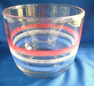 Vtg Glass Mixing Bowl 6 Cups Striped Red White Blue