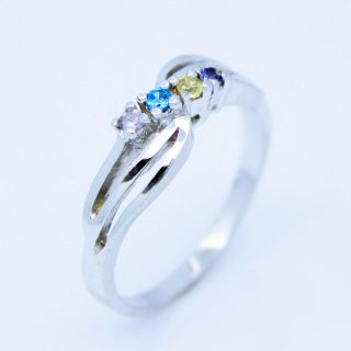 Sterling Silver Family Sisters Mothers Mom 4 Birthstone Ring
