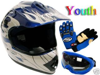 YOUTH KIDS BLUE FLAME DIRT BIKE ATV MOTOCROSS HELMET MX GOGGLES GLOVES