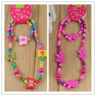 Sets Wooden Bead Cute Childrens Necklace Bracelet Jewelry Set