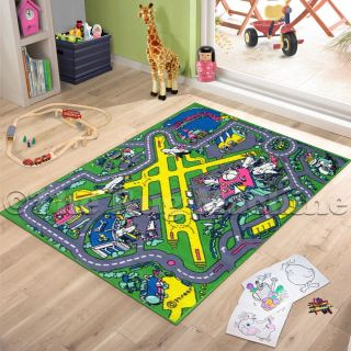 Airport Track Roads Kids Play Mat Rug 100x150 Non Slip Washable New