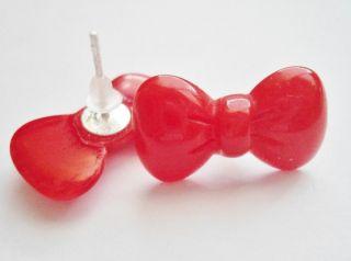 kitty red ribbon resin post stud earrings ring xmas kids Jewelry set