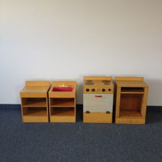 Vintage Kids Play Kitchen Set Solid Wood WDM Wood Designs Co RARE Find