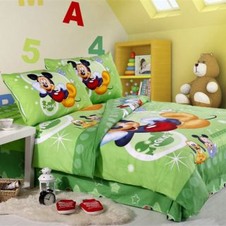 Hot Sale 100 Percent Cotton Green Mickey Mouse Kids Bedding Set