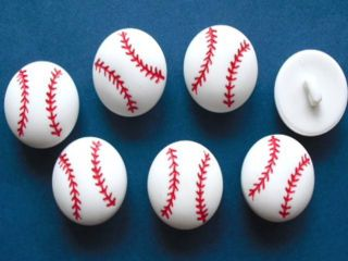 24 White Baseball Buttons Applique Kids 15mm Sport SB05
