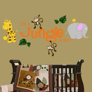 Jungle in Here with Jungle Friends Wall Decal Nursery Kids Room