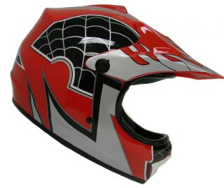 Youth KIDS Motocross Motorcross Dirt Bike ATV MX Off Road Helmet Red
