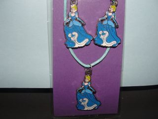 Cinderella Earing and Necklace Charm Kids Children Jewelry Set