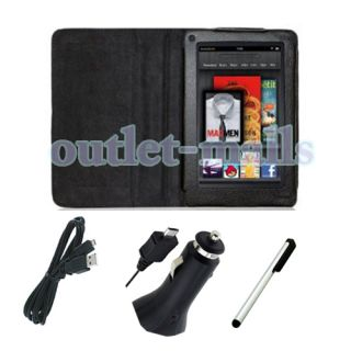For Kindle Fire Folio Carry Case Cover Car Charger USB Cable Cord