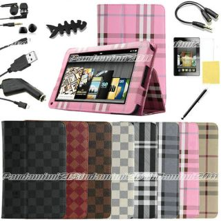 For Kindle Fire PU leather Case Cover Car Charger USB Cable Stylus Ea