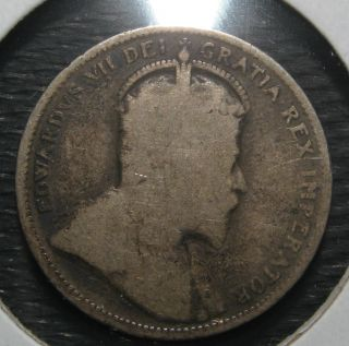 1903 VINTAGE CANADA KING EDWARD VII 25 CENT STERLING SILVER NICE COIN