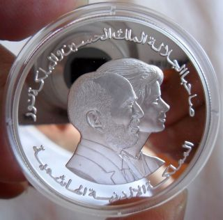Jordan 1999 Silver 5 Dinars King Hussein Queen Noor Proof Mint State