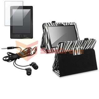 Zebra Leather Case w Stand Clear LCD Protector Blk Headset for Kindle