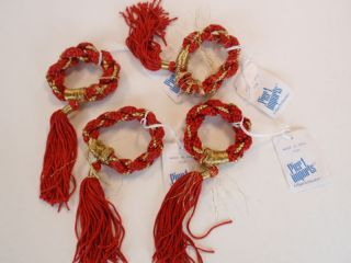 Red Braided Rope Napkin Rings Gold Thread Tassels 4