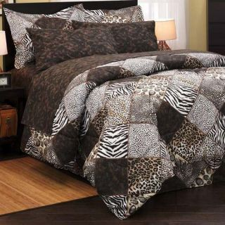 LEOPARD ANIMAL PRINT 8p KING Size Comforter Sheets Bed in a Bag Set