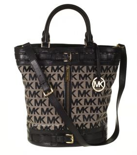 New Michael Kors Kingsbury Large Black Signature Jacquard Tote Handbag