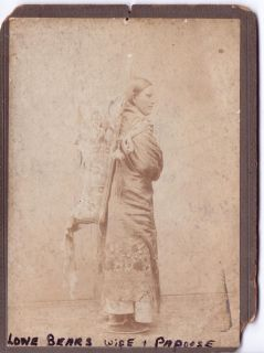 Lone Bears Wife Papoose KIOWA Native Indian Cabinet Card CA 1870
