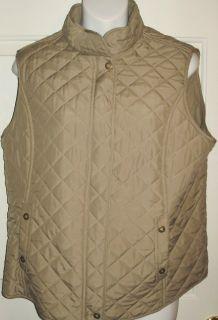 Van Heusen Ladies Quilted Vest Size Large Fleece Lined Tan Zip Front