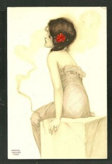 Raphael Kirchner Woman Girl Smoking Cigarette Art Nouveau Serie 4501