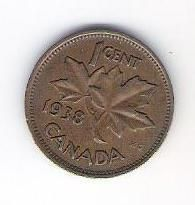 1938 Canada Canadian King George VI Penny One 1 Cent Coin