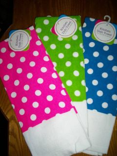 New Polka Dot Kitchen Dish Towel Hot Pink Blue or Green
