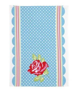 Country Cottage Rose Polka Dots Kitchen Towel Blue Rose Red Green