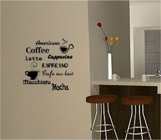 Coffee Wall Art Sticker Vinyl Quote Kitchen Cafe