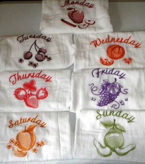 sack embroidered kitchen towels bar mops Days of the week FRUIT theme