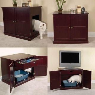 Pet Studio 28WX19DX24H Cat Litter Box Mahogany Cabinet