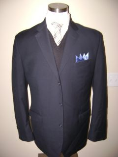 Flawless Calvin Klain mens 3 btn navy blue wool sport coat jacket